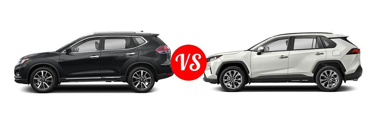 2020 Nissan Rogue SUV SL vs. 2020 Toyota RAV4 SUV Limited - Side Comparison