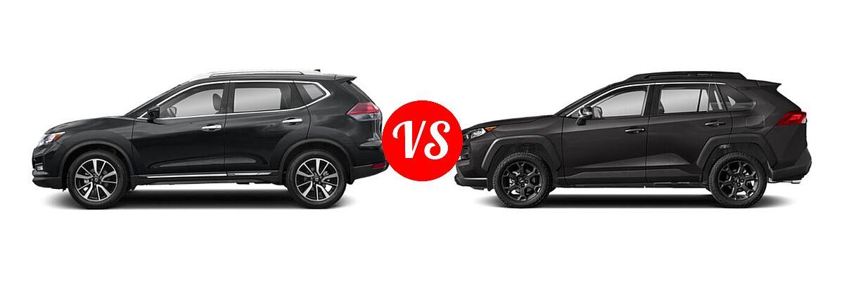 2020 Nissan Rogue SUV SL vs. 2020 Toyota RAV4 SUV TRD Off Road - Side Comparison