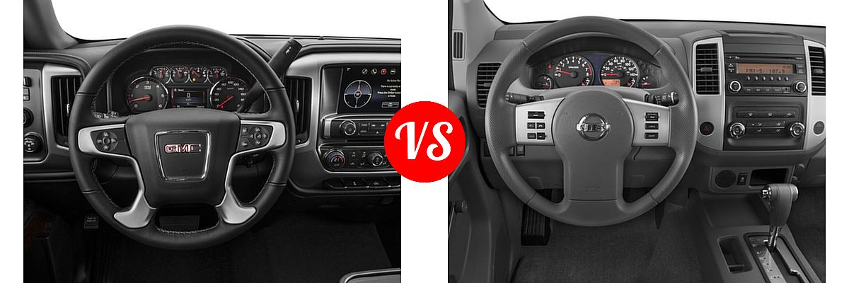 2016 GMC Sierra 1500 Pickup SLE vs. 2016 Nissan Frontier Pickup S - Dashboard Comparison