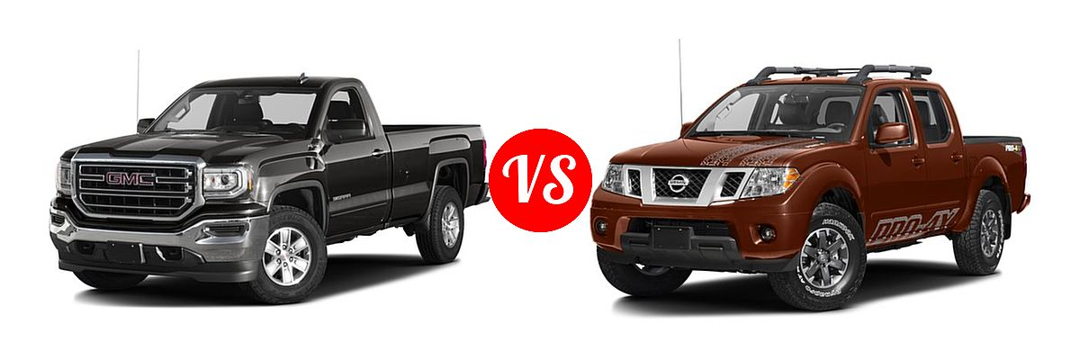 2016 GMC Sierra 1500 Pickup SLE vs. 2016 Nissan Frontier Pickup PRO-4X - Front Left Comparison