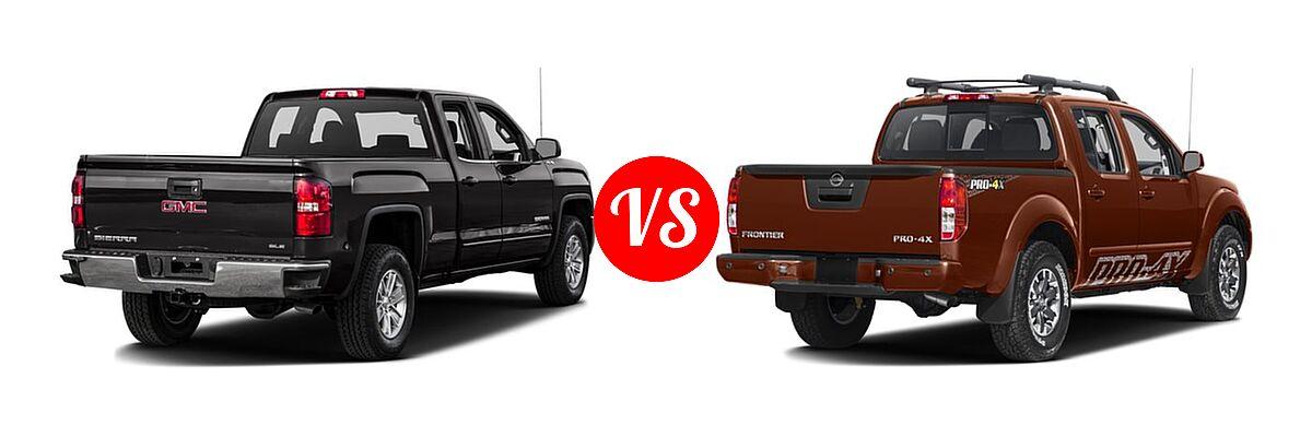 2016 GMC Sierra 1500 Pickup SLE vs. 2016 Nissan Frontier Pickup PRO-4X - Rear Right Comparison
