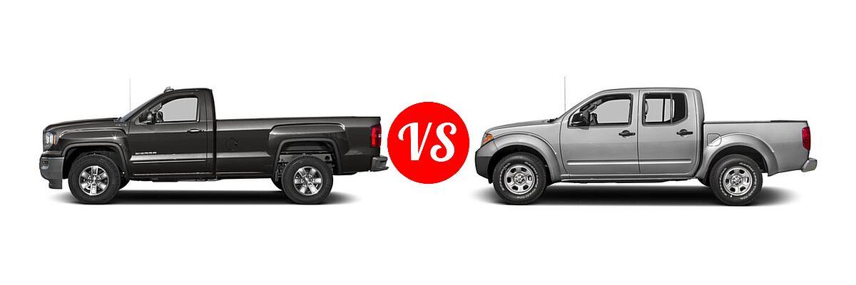 2016 GMC Sierra 1500 Pickup SLE vs. 2016 Nissan Frontier Pickup S - Side Comparison