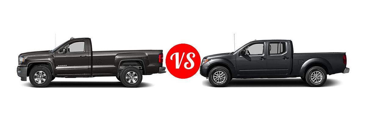 2016 GMC Sierra 1500 Pickup SLE vs. 2016 Nissan Frontier Pickup SV - Side Comparison