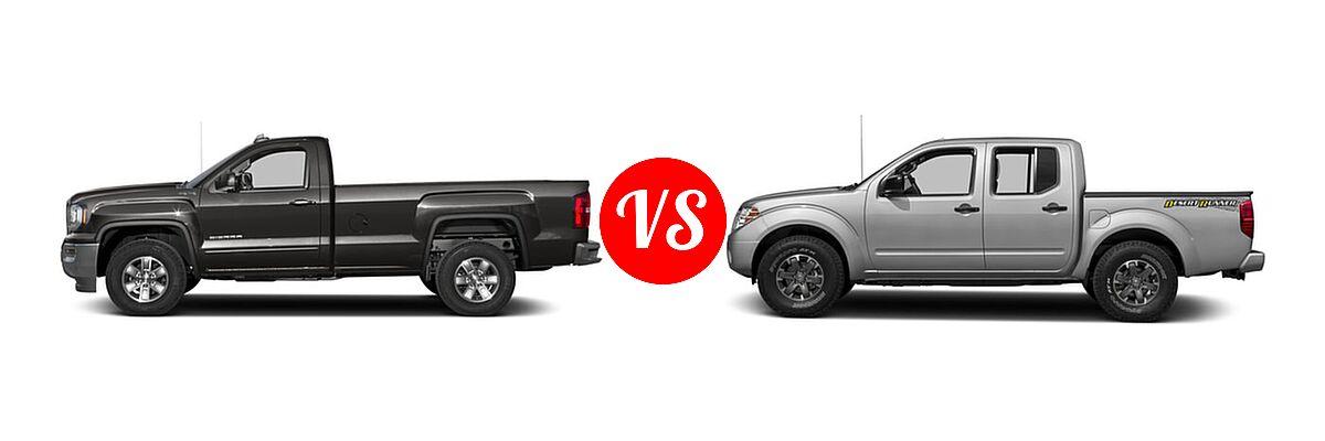 2016 GMC Sierra 1500 Pickup SLE vs. 2016 Nissan Frontier Pickup Desert Runner - Side Comparison