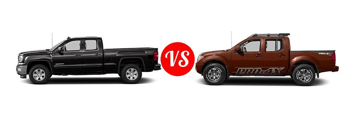 2016 GMC Sierra 1500 Pickup SLE vs. 2016 Nissan Frontier Pickup PRO-4X - Side Comparison