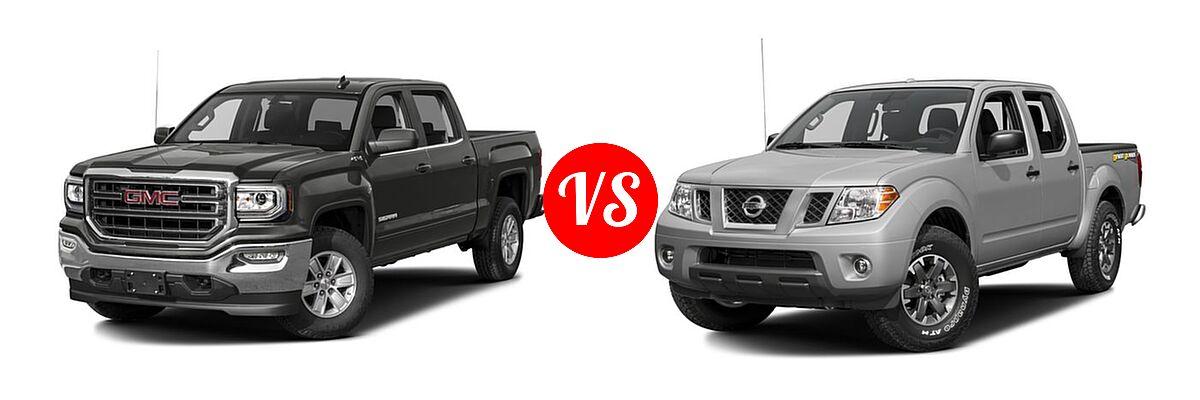 2016 GMC Sierra 1500 Pickup SLE vs. 2016 Nissan Frontier Pickup Desert Runner - Front Left Comparison