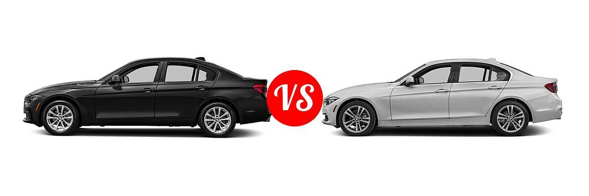 2018 BMW 3 Series Sedan 320i / 320i xDrive vs. 2018 BMW 3 Series Sedan Diesel 328d / 328d xDrive - Side Comparison