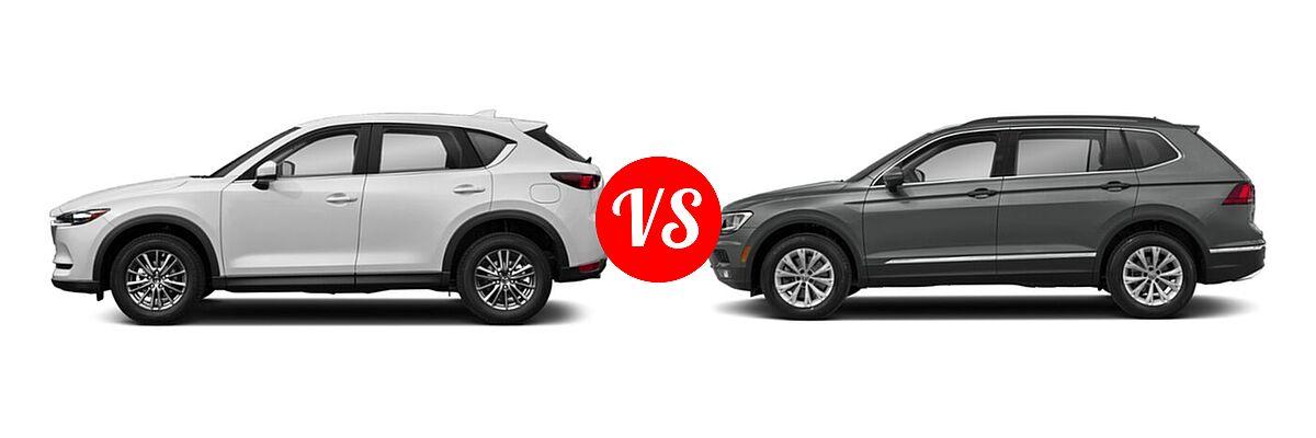 2020 Mazda CX-5 SUV Sport vs. 2020 Volkswagen Tiguan SUV SE R-Line Black / SEL Premium R-Line - Side Comparison
