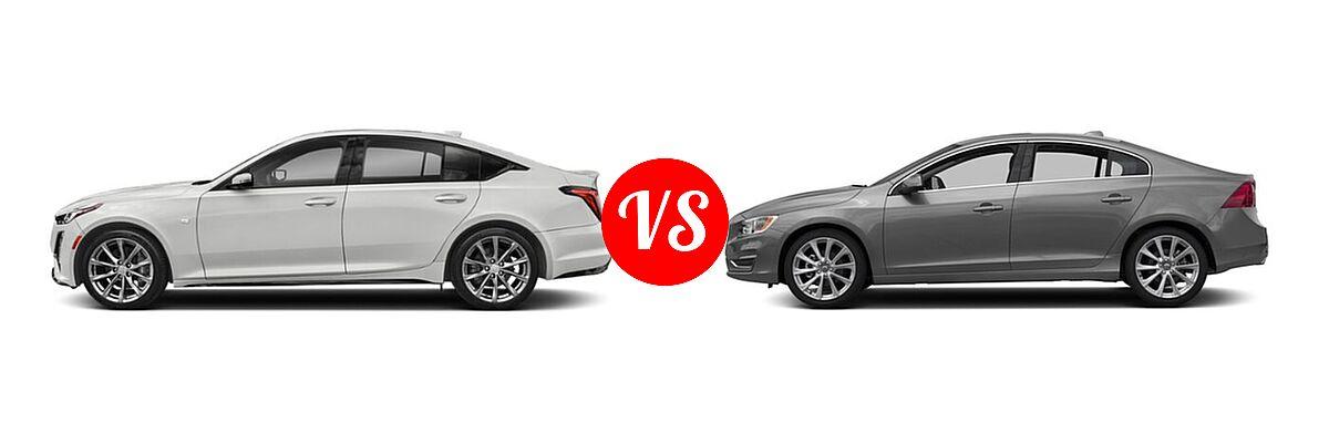 2020 Cadillac CT5 Sedan Luxury / Premium Luxury / Sport vs. 2018 Volvo S60 Sedan Inscription / Inscription Platinum - Side Comparison