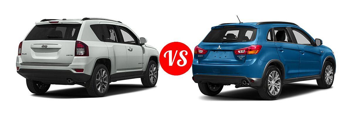 2016 Jeep Compass SUV 75th Anniversary / Latitude / Sport / Sport SE Pkg vs. 2016 Mitsubishi Outlander Sport SUV 2.4 SEL - Rear Right Comparison