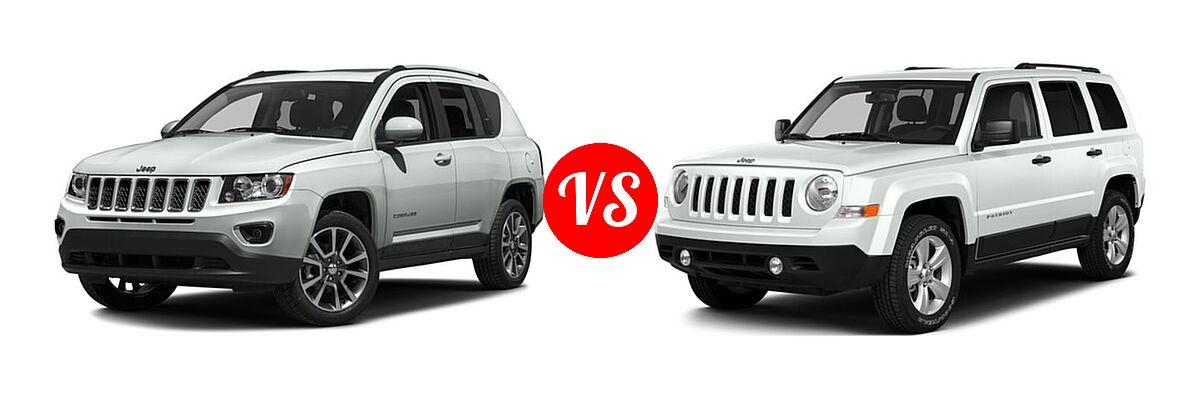 2016 Jeep Compass SUV 75th Anniversary / Latitude / Sport / Sport SE Pkg vs. 2016 Jeep Patriot SUV 75th Anniversary / High Altitude Edition / Latitude / Sport / Sport SE - Front Left Comparison