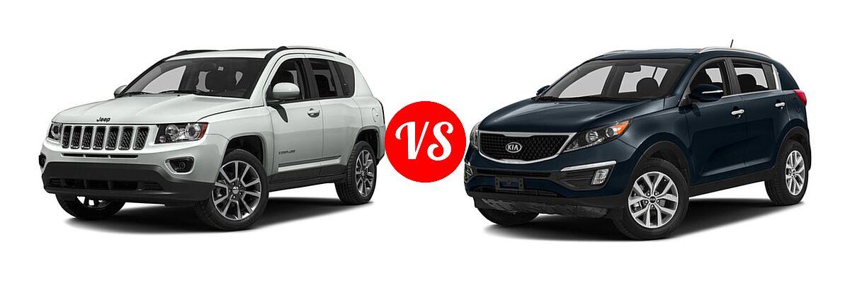 2016 Jeep Compass SUV 75th Anniversary / Latitude / Sport / Sport SE Pkg vs. 2016 Kia Sportage SUV EX / LX / SX - Front Left Comparison