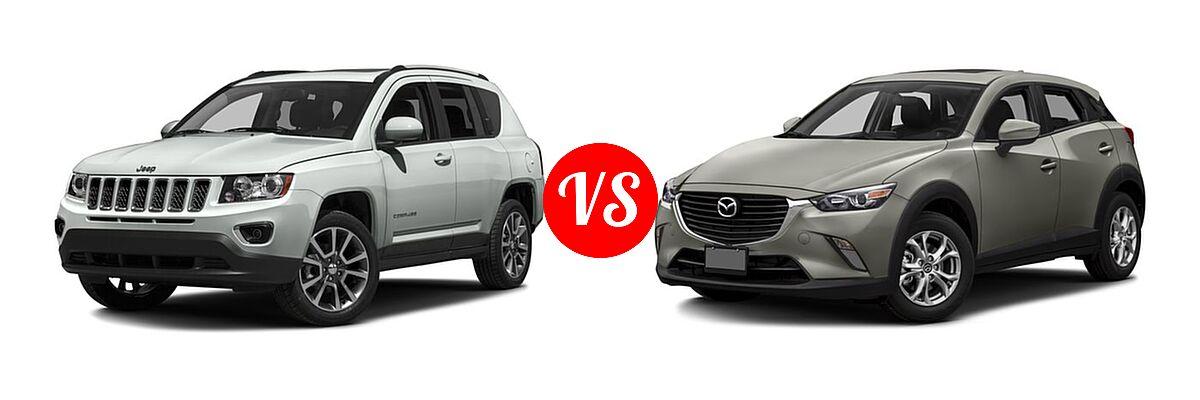 2016 Jeep Compass SUV 75th Anniversary / Latitude / Sport / Sport SE Pkg vs. 2016 Mazda CX-3 SUV Sport / Touring - Front Left Comparison