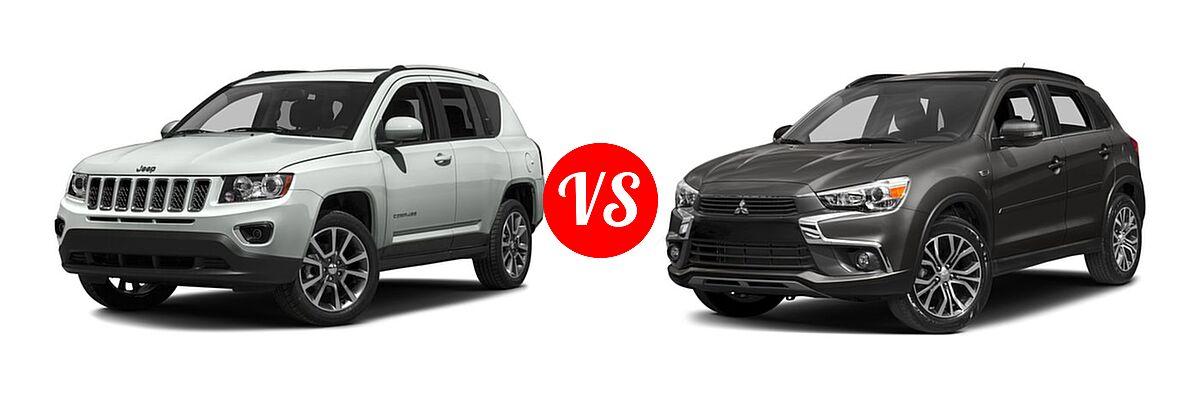 2016 Jeep Compass SUV 75th Anniversary / Latitude / Sport / Sport SE Pkg vs. 2016 Mitsubishi Outlander Sport SUV 2.4 GT - Front Left Comparison