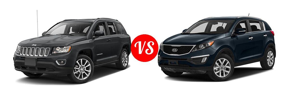 2016 Jeep Compass SUV High Altitude Edition vs. 2016 Kia Sportage SUV EX / LX / SX - Front Left Comparison