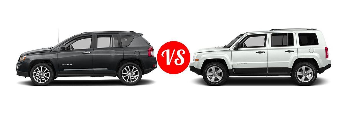 2016 Jeep Compass SUV High Altitude Edition vs. 2016 Jeep Patriot SUV 75th Anniversary / High Altitude Edition / Latitude / Sport / Sport SE - Side Comparison