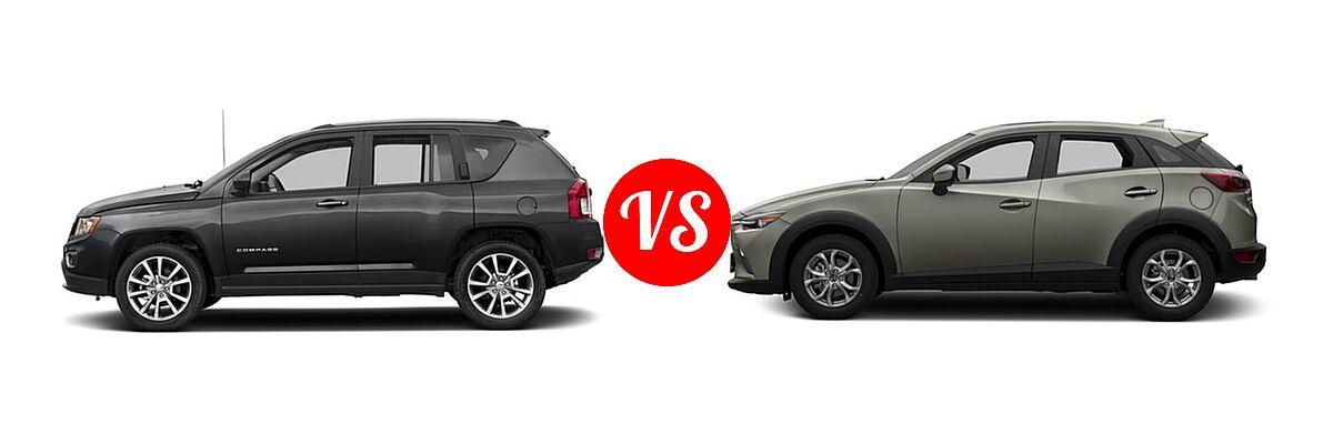 2016 Jeep Compass SUV High Altitude Edition vs. 2016 Mazda CX-3 SUV Sport / Touring - Side Comparison
