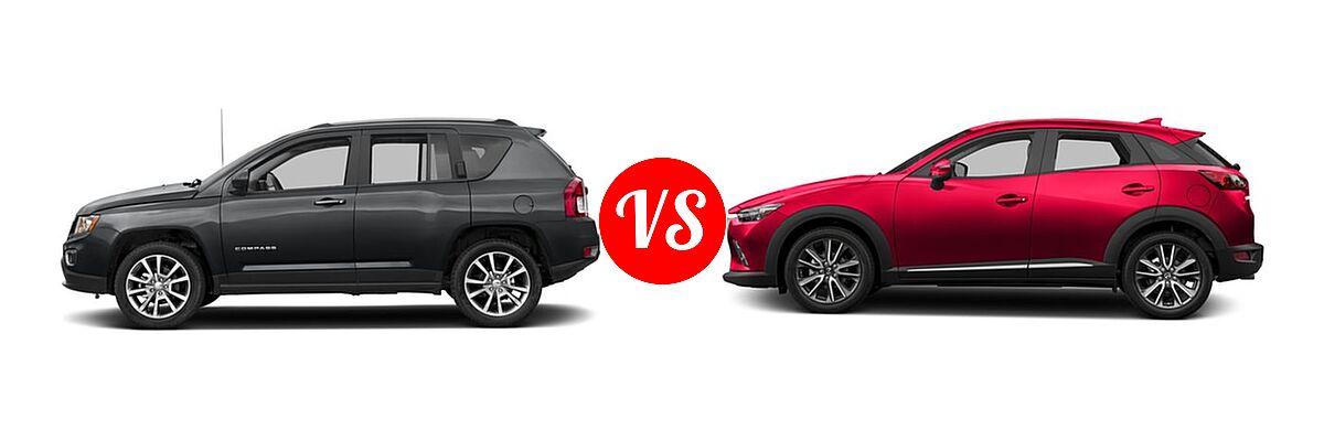2016 Jeep Compass SUV High Altitude Edition vs. 2016 Mazda CX-3 SUV Grand Touring - Side Comparison