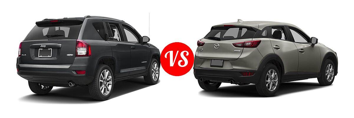 2016 Jeep Compass SUV High Altitude Edition vs. 2016 Mazda CX-3 SUV Sport / Touring - Rear Right Comparison
