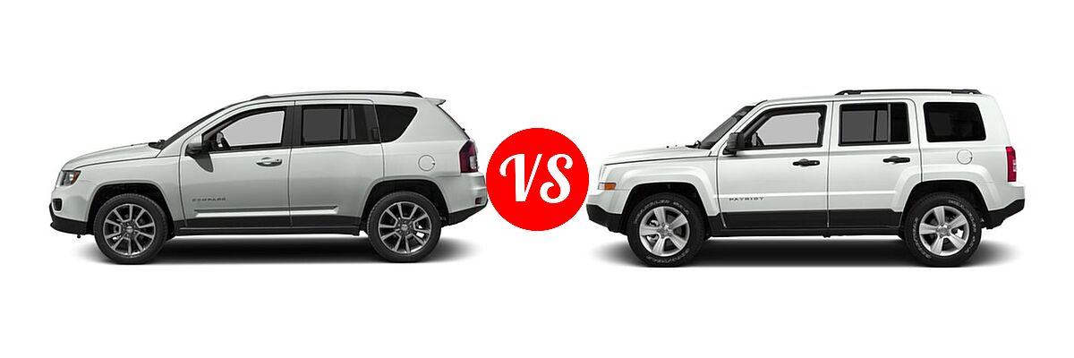 2016 Jeep Compass SUV 75th Anniversary / Latitude / Sport / Sport SE Pkg vs. 2016 Jeep Patriot SUV 75th Anniversary / High Altitude Edition / Latitude / Sport / Sport SE - Side Comparison