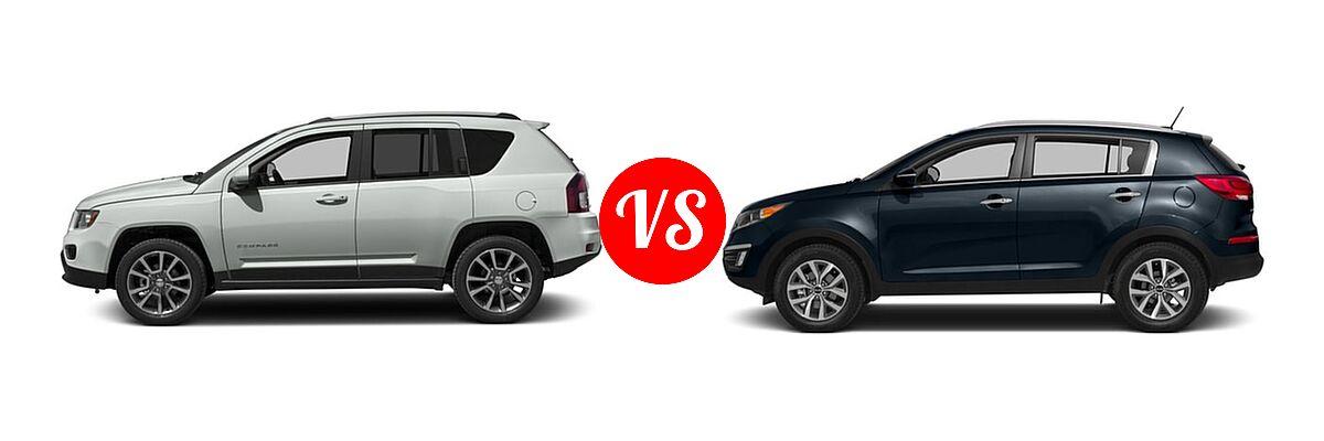2016 Jeep Compass SUV 75th Anniversary / Latitude / Sport / Sport SE Pkg vs. 2016 Kia Sportage SUV EX / LX / SX - Side Comparison