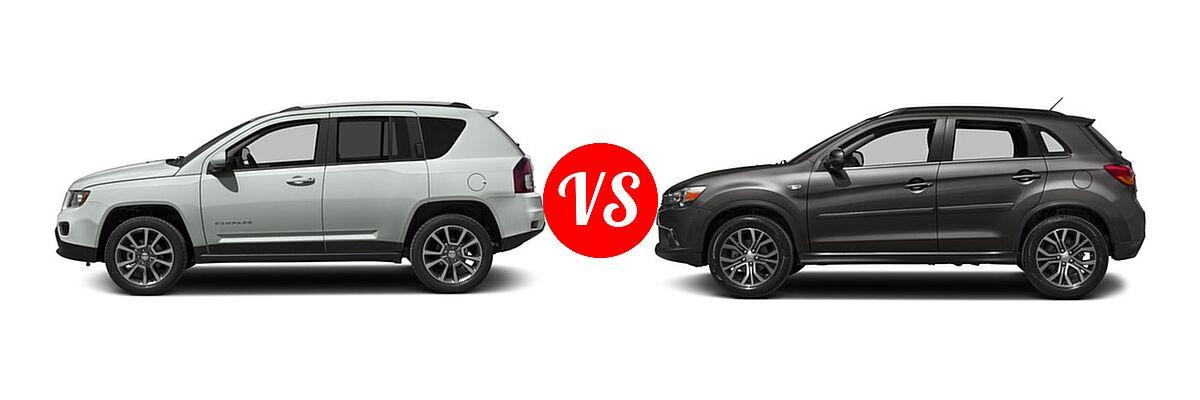 2016 Jeep Compass SUV 75th Anniversary / Latitude / Sport / Sport SE Pkg vs. 2016 Mitsubishi Outlander Sport SUV 2.4 GT - Side Comparison