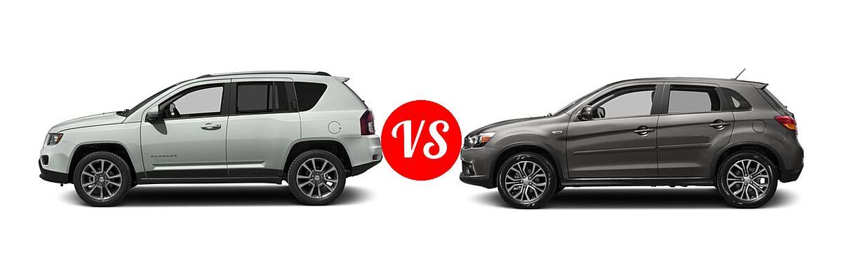 2016 Jeep Compass SUV 75th Anniversary / Latitude / Sport / Sport SE Pkg vs. 2016 Mitsubishi Outlander Sport SUV 2.0 ES / 2.4 ES / 2.4 SE - Side Comparison