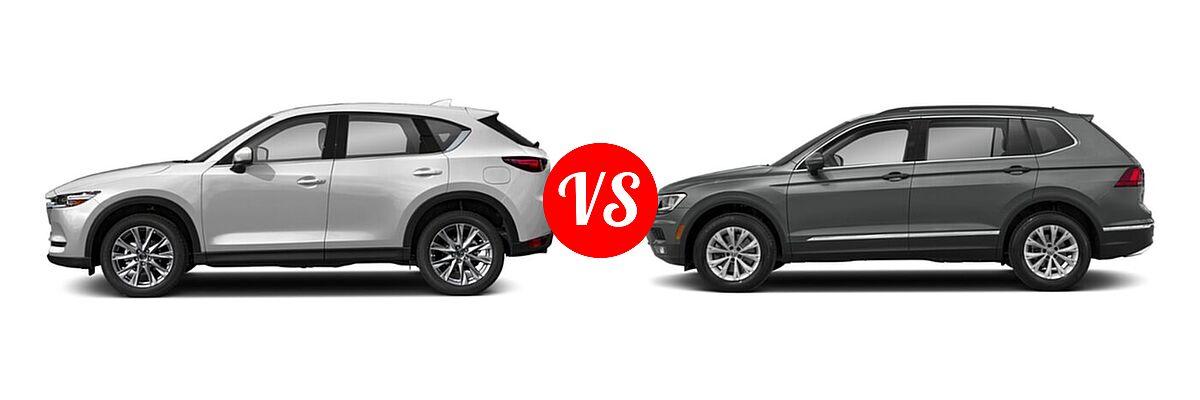 2020 Mazda CX-5 SUV Grand Touring vs. 2020 Volkswagen Tiguan SUV SE R-Line Black / SEL Premium R-Line - Side Comparison