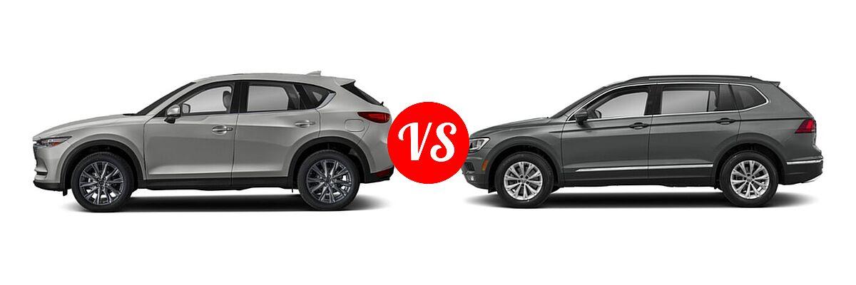 2020 Mazda CX-5 SUV Grand Touring vs. 2020 Volkswagen Tiguan SUV S / SE / SEL - Side Comparison