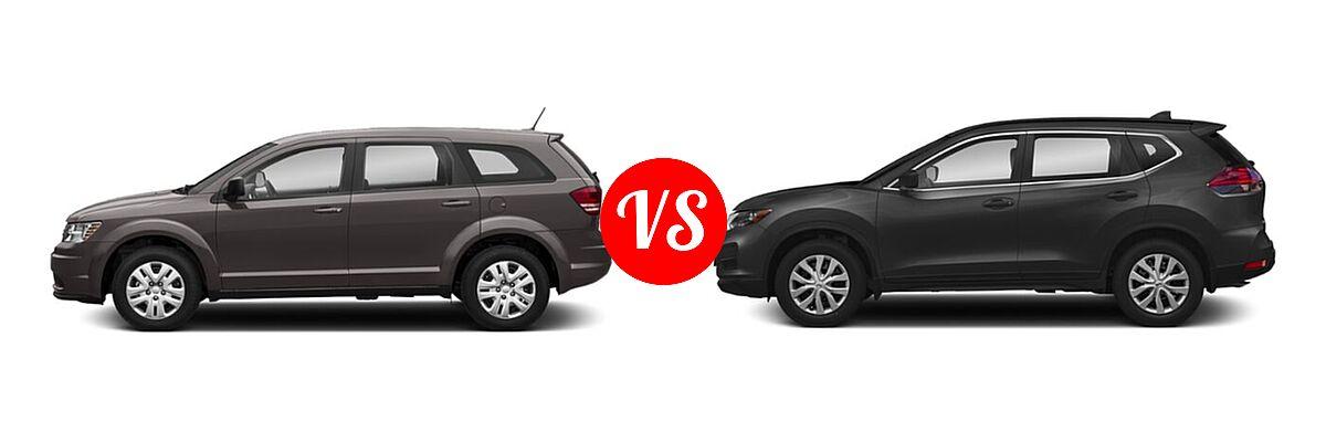 2020 Dodge Journey SUV SE Value vs. 2020 Nissan Rogue SUV S / SV - Side Comparison