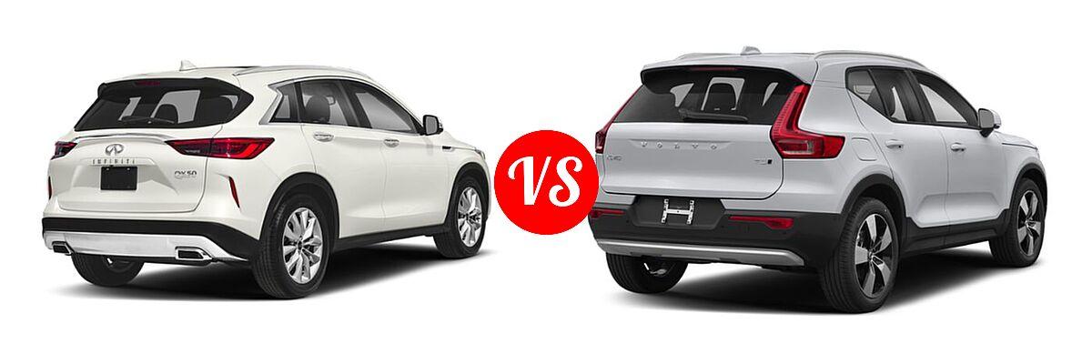 2019 Infiniti QX50 SUV ESSENTIAL / LUXE / PURE vs. 2019 Volvo XC40 SUV Momentum / R-Design - Rear Right Comparison
