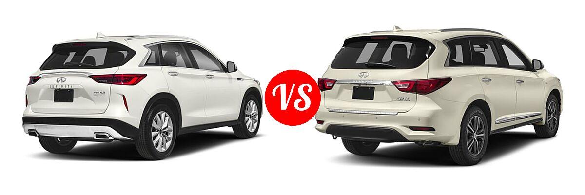 2019 Infiniti QX50 SUV ESSENTIAL / LUXE / PURE vs. 2019 Infiniti QX60 SUV LUXE / PURE - Rear Right Comparison