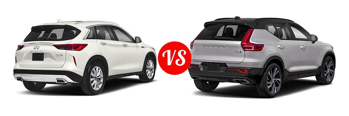 2019 Infiniti QX50 SUV ESSENTIAL / LUXE / PURE vs. 2019 Volvo XC40 SUV R-Design - Rear Right Comparison