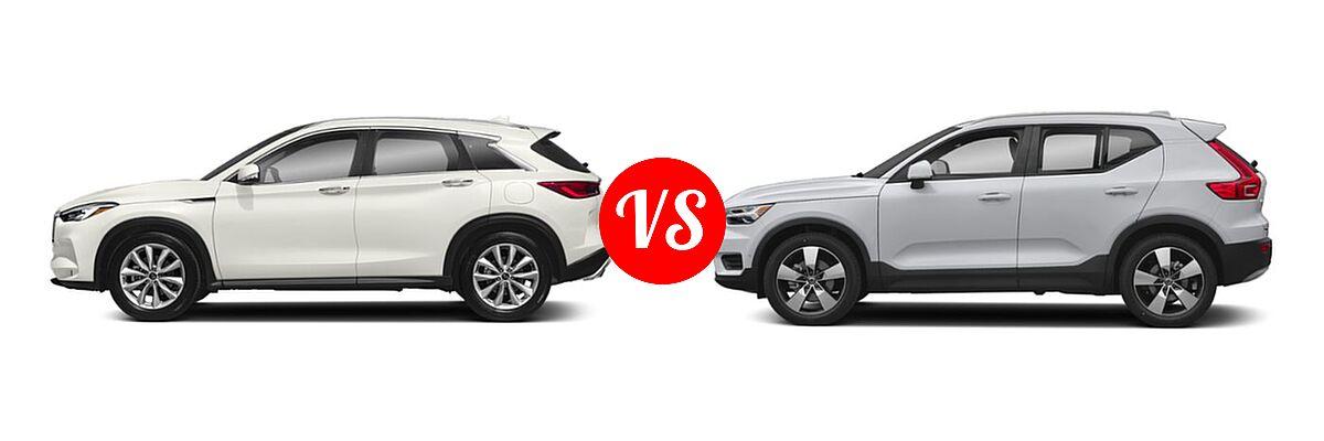 2019 Infiniti QX50 SUV ESSENTIAL / LUXE / PURE vs. 2019 Volvo XC40 SUV Momentum / R-Design - Side Comparison