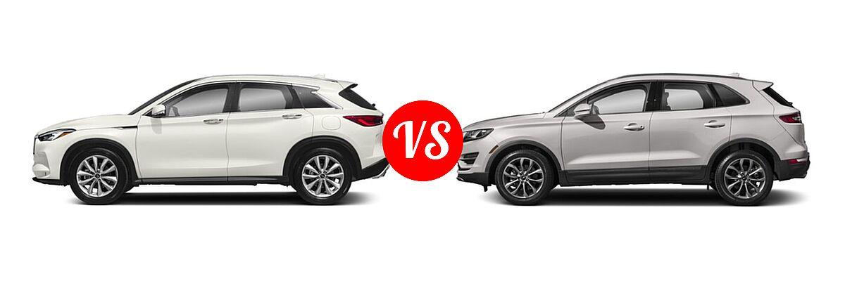 2019 Infiniti QX50 SUV ESSENTIAL / LUXE / PURE vs. 2019 Lincoln MKC SUV Black Label / FWD / Reserve / Select / Standard - Side Comparison