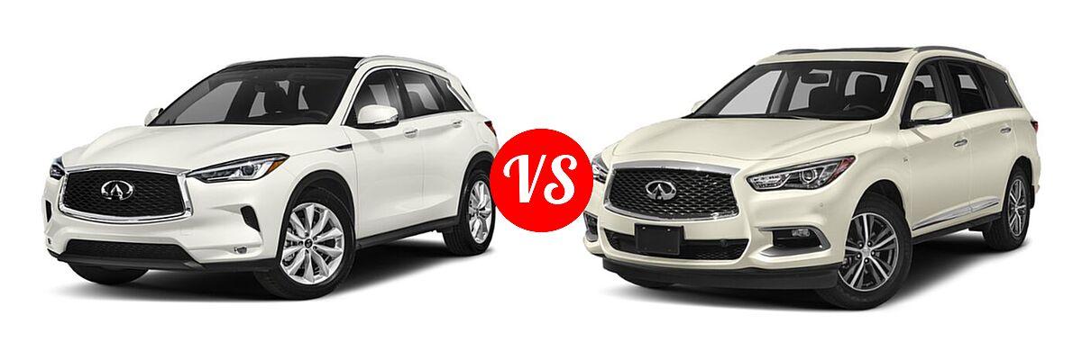 2019 Infiniti QX50 SUV ESSENTIAL / LUXE / PURE vs. 2019 Infiniti QX60 SUV LUXE / PURE - Front Left Comparison