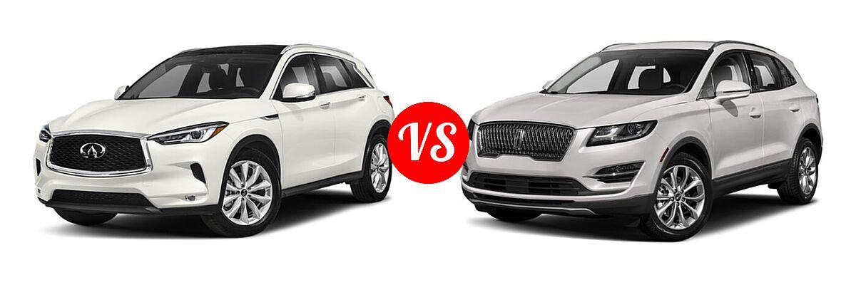 2019 Infiniti QX50 SUV ESSENTIAL / LUXE / PURE vs. 2019 Lincoln MKC SUV Black Label / FWD / Reserve / Select / Standard - Front Left Comparison