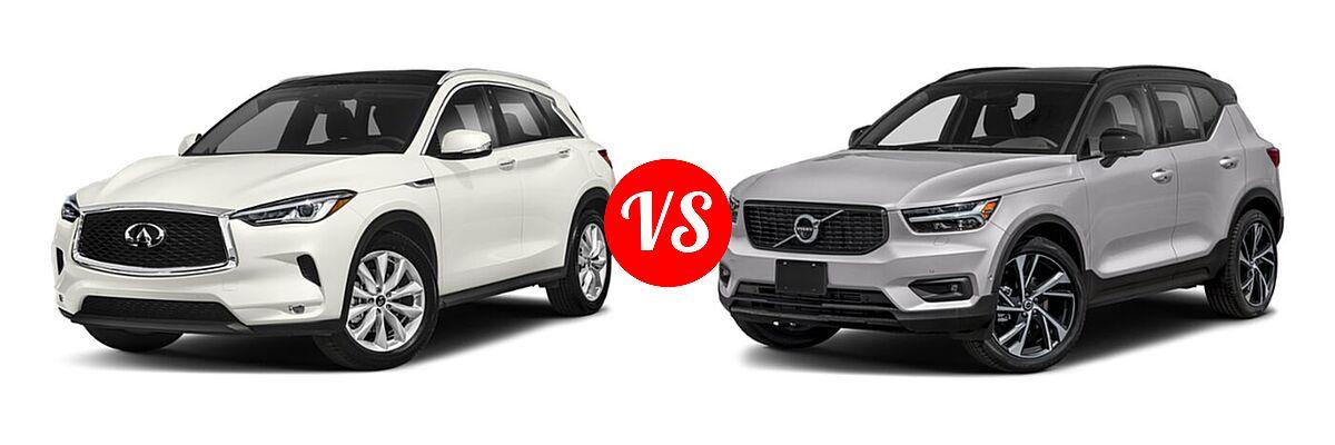 2019 Infiniti QX50 SUV ESSENTIAL / LUXE / PURE vs. 2019 Volvo XC40 SUV R-Design - Front Left Comparison