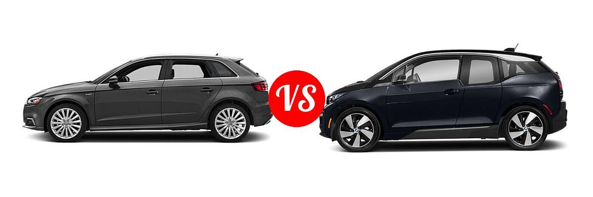 2018 Audi A3 Sportback e-tron Hatchback Premium / Premium Plus / Prestige vs. 2020 BMW i3 Hatchback PHEV 120 Ah / 120 Ah w/Range Extender / s - Side Comparison