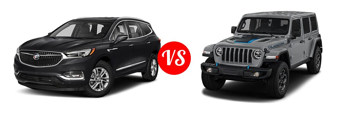 2021 Buick Enclave SUV Essence vs. 2021 Jeep Wrangler Unlimited SUV PHEV Unlimited Rubicon / Unlimited Sahara / Unlimited Sahara High Altitude - Front Left Comparison