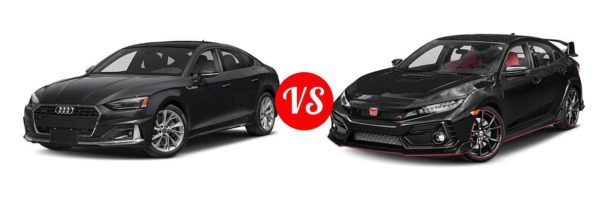 2021 Audi A5 Hatchback S line Premium vs. 2021 Honda Civic Type R Hatchback Touring - Front Left Comparison