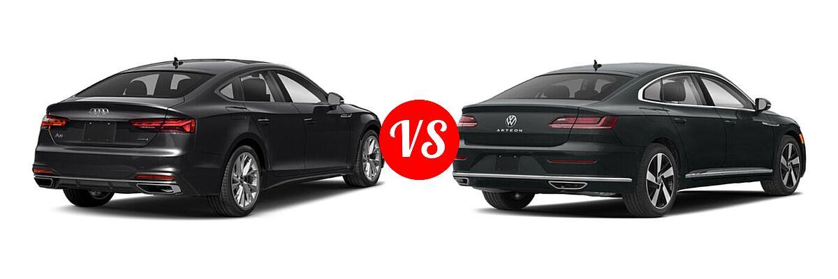 2021 Audi A5 Hatchback S line Premium vs. 2021 Volkswagen Arteon Hatchback SE - Rear Right Comparison