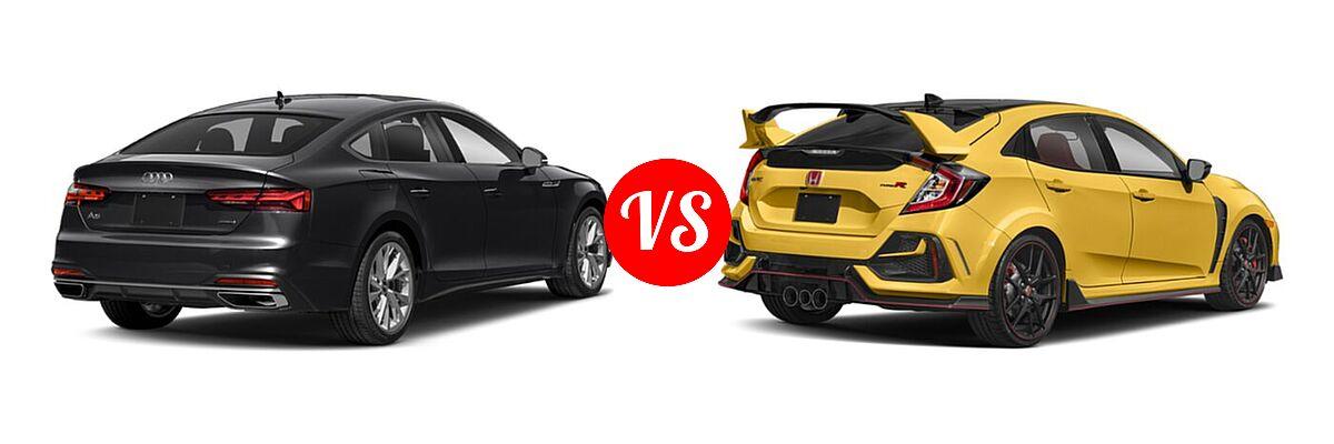2021 Audi A5 Hatchback S line Premium vs. 2021 Honda Civic Type R Hatchback Limited Edition - Rear Right Comparison