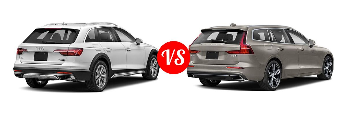 2021 Audi A4 allroad Wagon Premium Plus vs. 2021 Volvo V60 Wagon Inscription / Momentum / R-Design - Rear Right Comparison