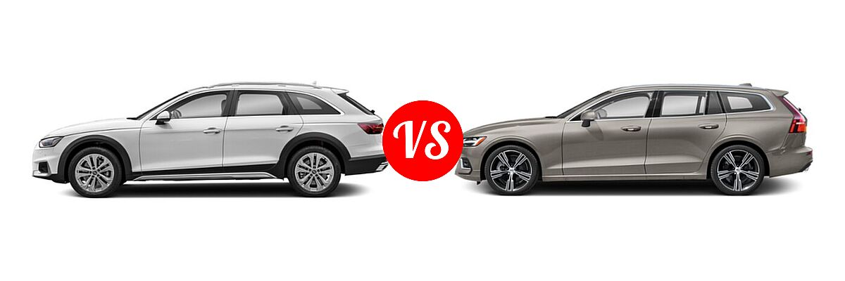 2021 Audi A4 allroad Wagon Premium Plus vs. 2021 Volvo V60 Wagon Inscription / Momentum / R-Design - Side Comparison