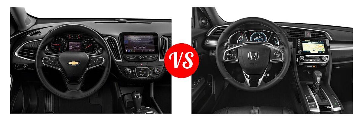 2021 Chevrolet Malibu Sedan L vs. 2021 Honda Civic Sedan Touring - Dashboard Comparison