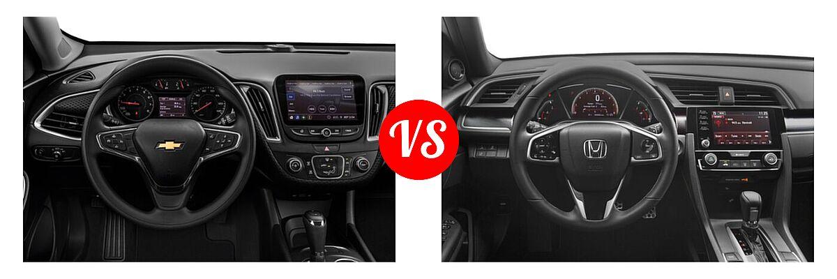 2021 Chevrolet Malibu Sedan L vs. 2021 Honda Civic Sedan Sport - Dashboard Comparison