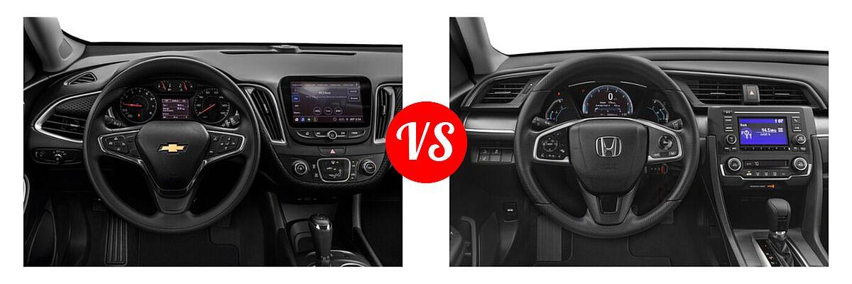 2021 Chevrolet Malibu Sedan L vs. 2021 Honda Civic Sedan LX - Dashboard Comparison