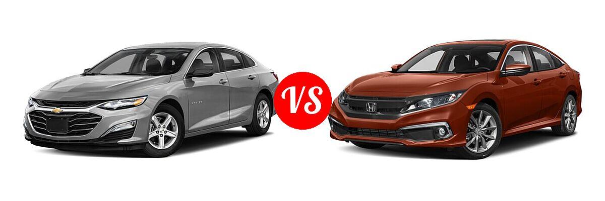 2021 Chevrolet Malibu Sedan L vs. 2021 Honda Civic Sedan EX-L - Front Left Comparison