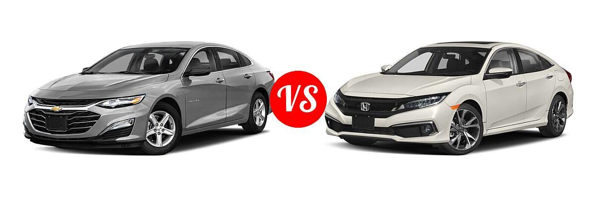 2021 Chevrolet Malibu Sedan L vs. 2021 Honda Civic Sedan Touring - Front Left Comparison